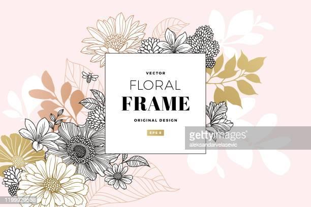 illustrazioni stock, clip art, cartoni animati e icone di tendenza di modern floral frame - motivo floreale