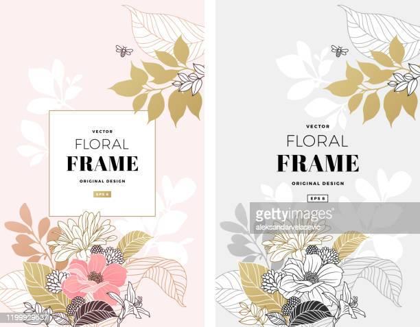 ilustraciones, imágenes clip art, dibujos animados e iconos de stock de marco floral moderno - diseño floral