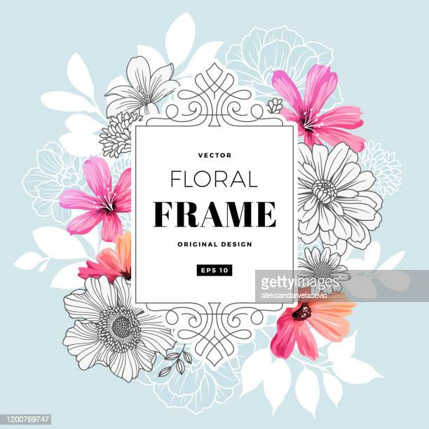 modern floral frame - floral pattern stock illustrations