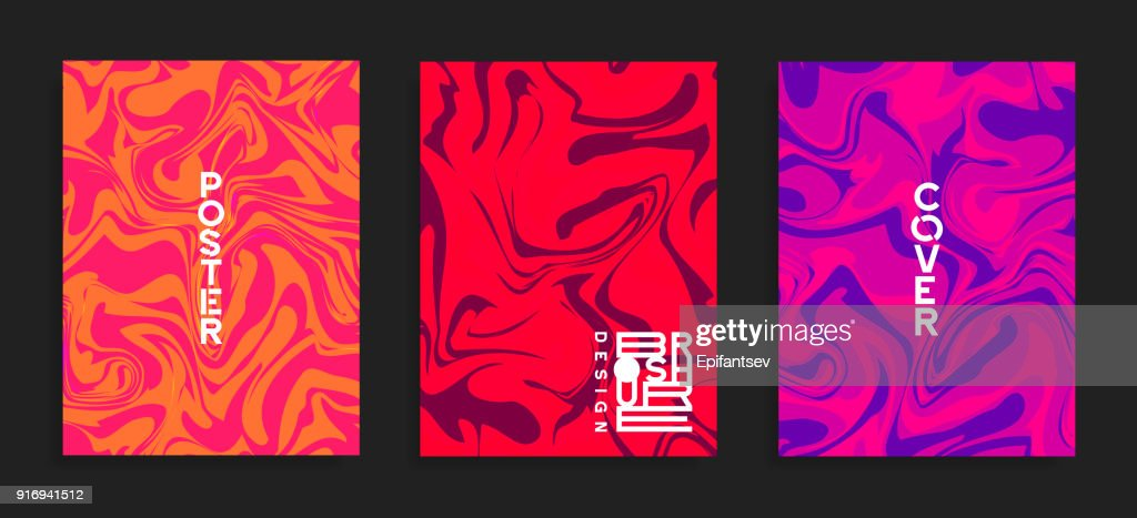 Modern flyer templates. Fluid colors mixture.