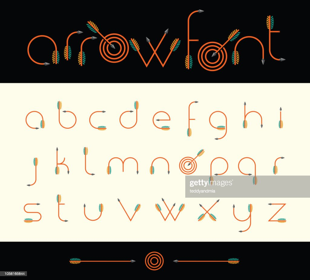 Modern font alphabet shaped like archery arrows.