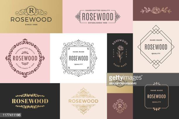modern frames and logos - retro style stock illustrations