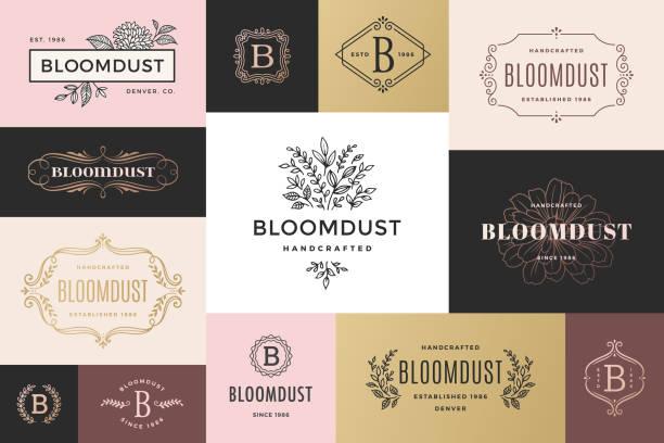 modern frames and logos - femininity stock illustrations