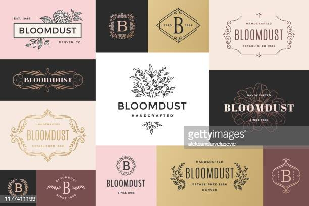 stockillustraties, clipart, cartoons en iconen met moderne kaders en logo's - bloem plant