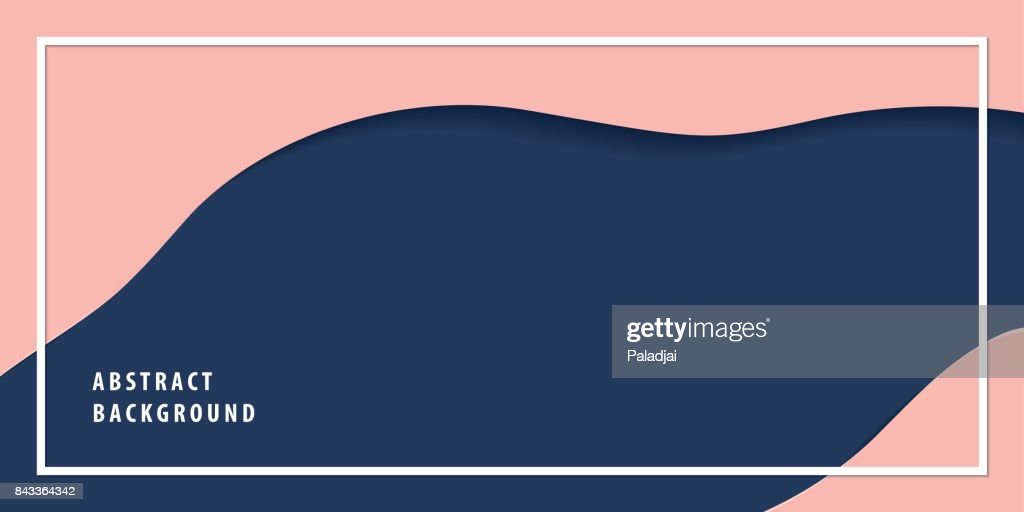 Modern freeform abstract paper cut layer background banner navy blue and pink color vector. Background concept.