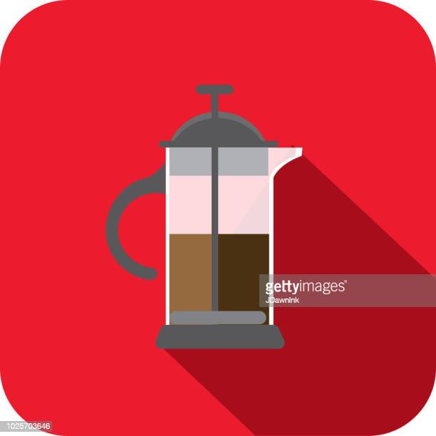 Modern french press Coffee Flat Design themed Icon with shadow