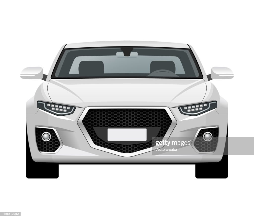 Modern generic car. Front view of realistic detailed vector car. Middle class sedan isolated on white background.