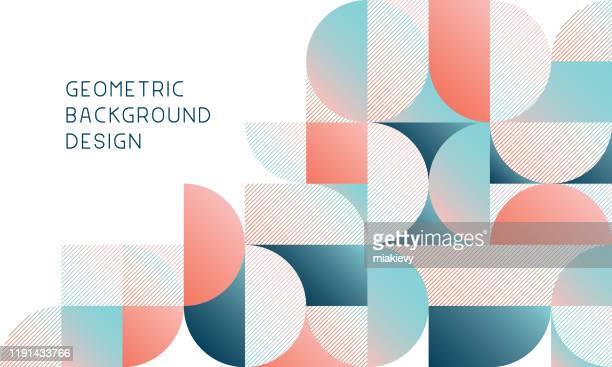 ilustrações, clipart, desenhos animados e ícones de fundo abstrato geométrico moderno - semicírculo