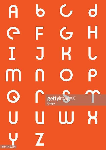 moderner geometrischer alphabettyp - kunst, kultur und unterhaltung stock-grafiken, -clipart, -cartoons und -symbole