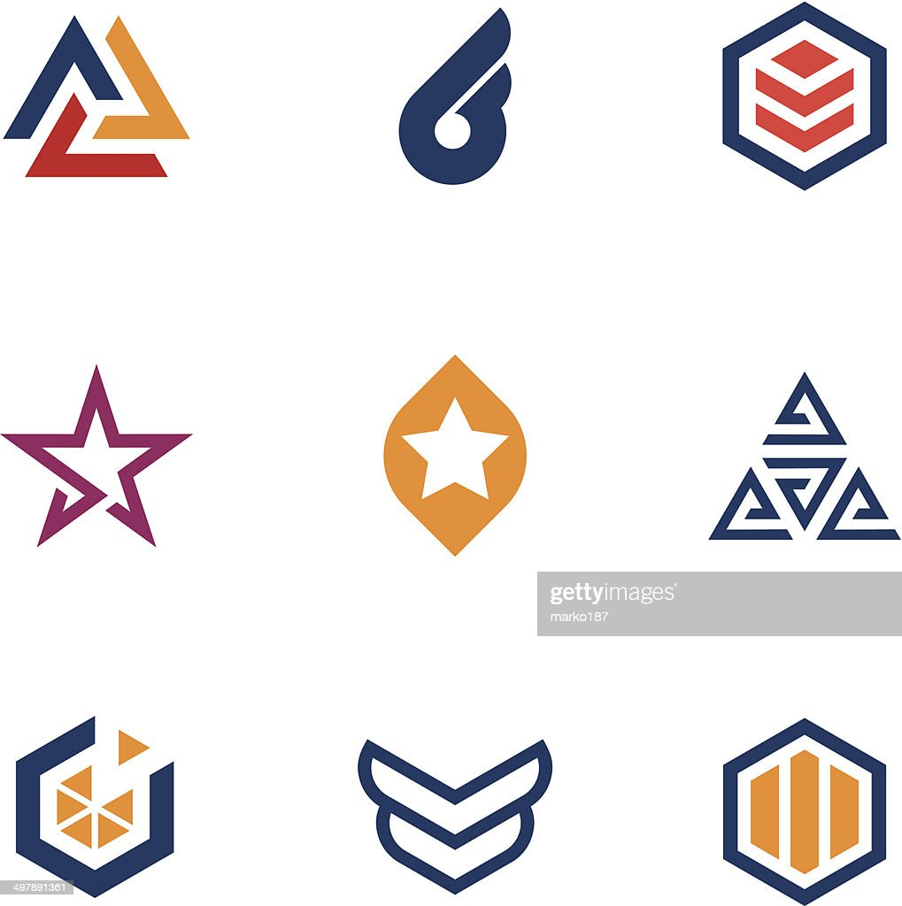 Modern geometric business logos