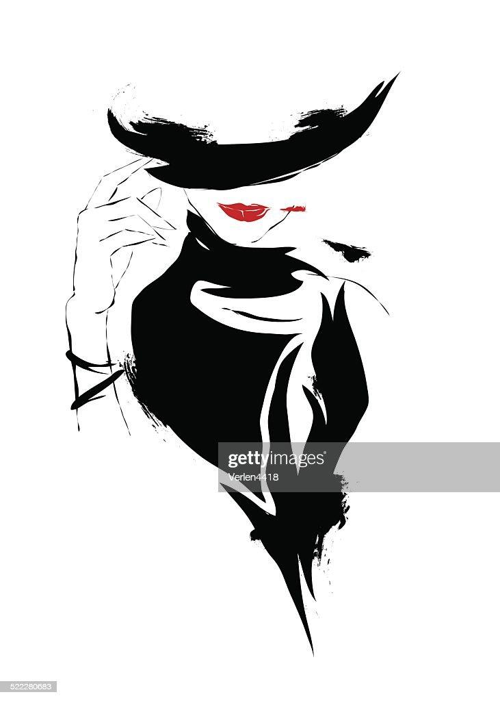 Modern girl, sketch, white background, hat