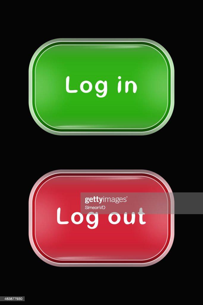 Modern Glass Buttons Login