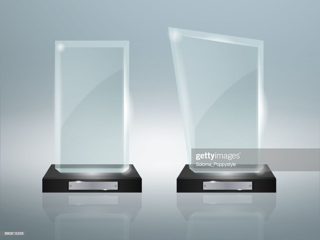 Modern glass cup trophies and challenge prizes. Side view. Realistic icons against isolated vector illustration