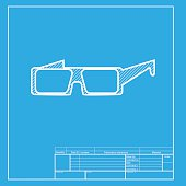 Modern glass sign. White section of icon on blueprint template.