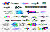 Modern glitch collection. Tv noise glitches, monitor signal decay and screen bug. Digital data glitched signals texture vector set