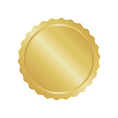 Modern gold circle metal badge, label and design elements. Vector illustration.