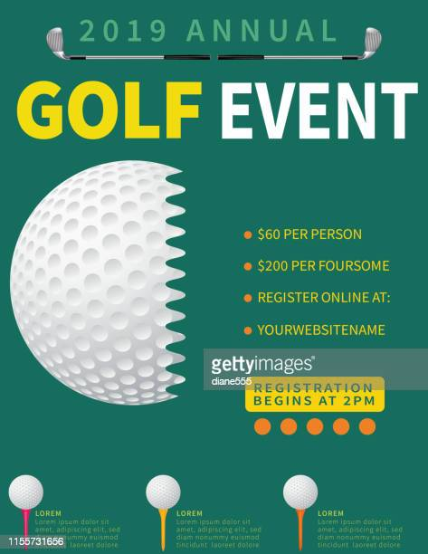 modern golf tournament with golf ball and club - golf tournament stock illustrations, clip art, cartoons, & icons