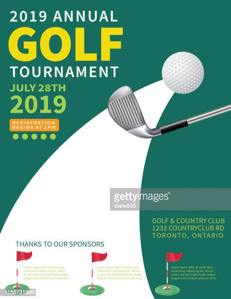 modern golf tournament with golf ball and club - golf flag stock illustrations