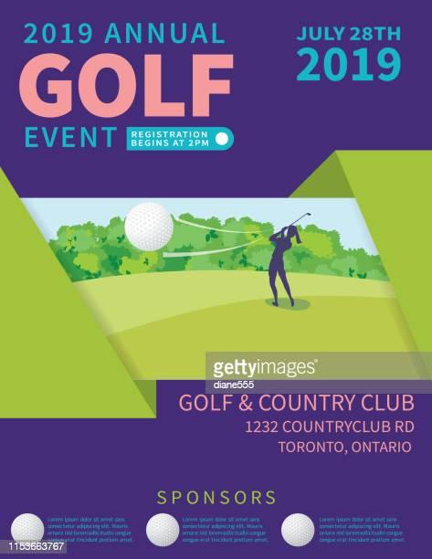 ilustrações, clipart, desenhos animados e ícones de torneio de golfe moderno com golfe cource e golfer - golf tournament