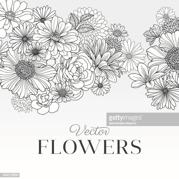 illustrazioni stock, clip art, cartoni animati e icone di tendenza di modern graphic flowers - motivo floreale