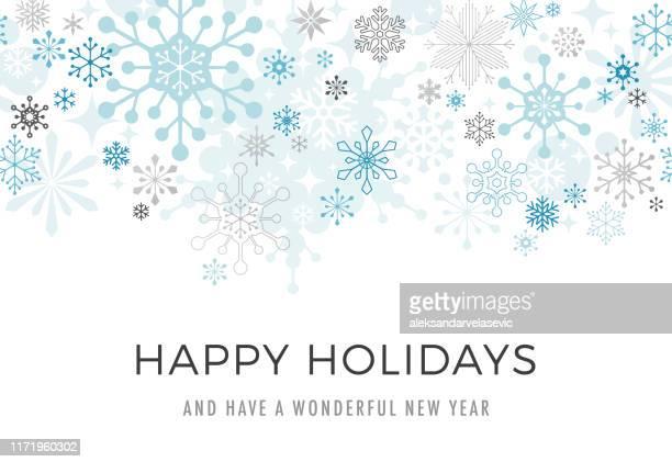 stockillustraties, clipart, cartoons en iconen met moderne grafische snowflake vakantie achtergrond - seizoen