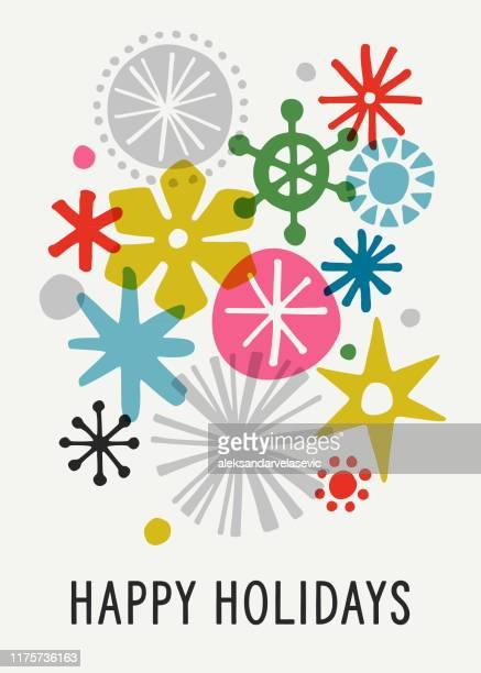 illustrazioni stock, clip art, cartoni animati e icone di tendenza di sfondo vacanze fiocco di neve grafico moderno - moderno