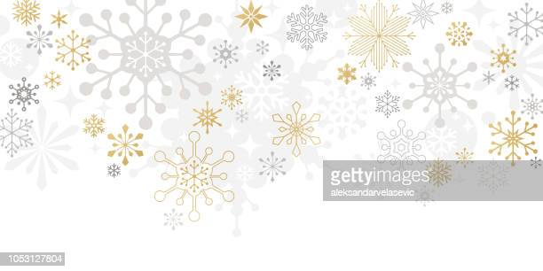 modern graphic snowflake holiday, christmas background - panoramic stock illustrations