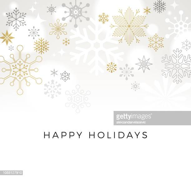 modern graphic snowflake holiday, christmas background - elegance stock illustrations