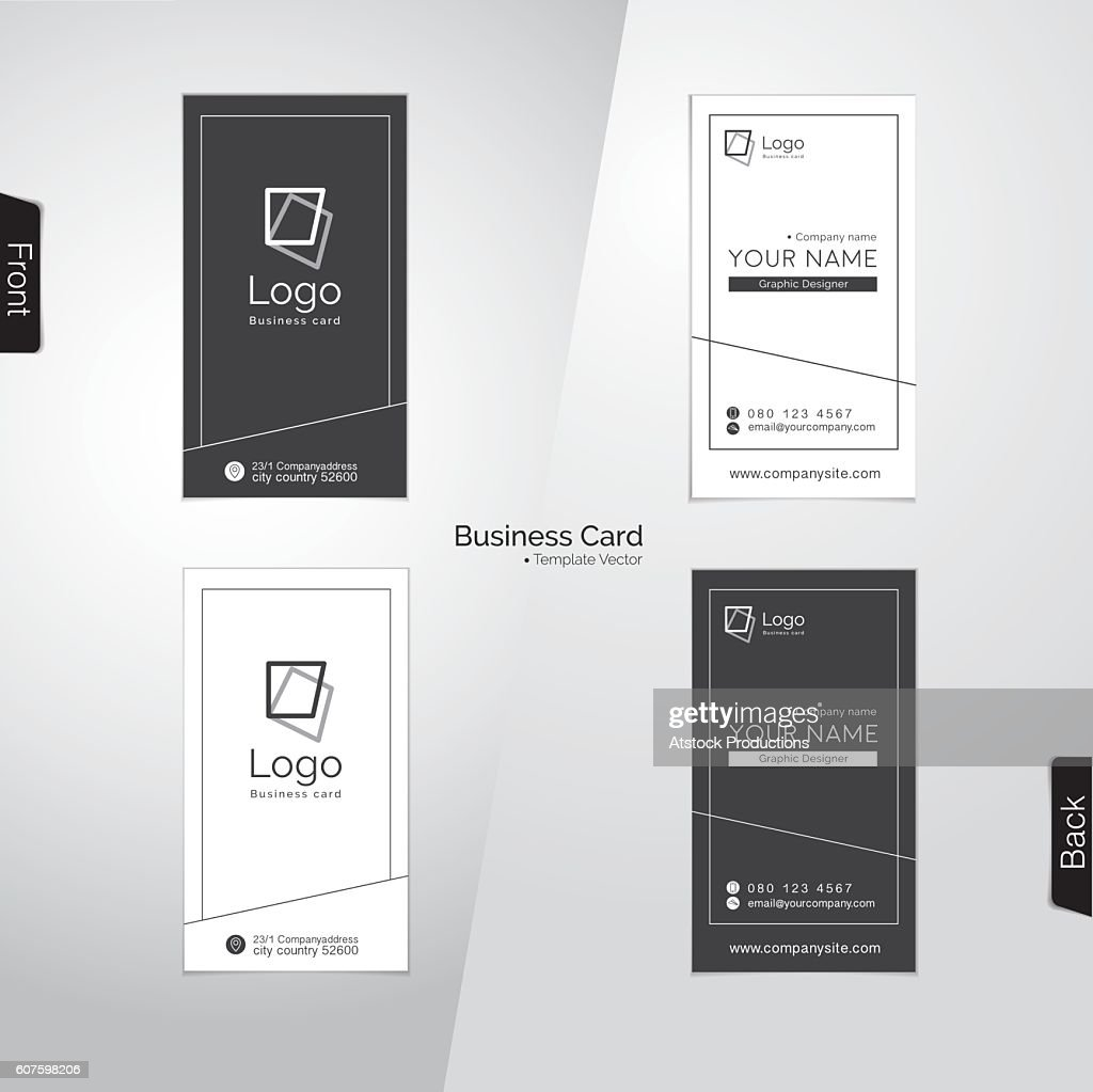 Modern gray and white vertical business card vector templates