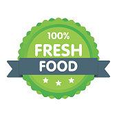Modern green eco badge. 100 percent fresh food label. Sticker vector illustration