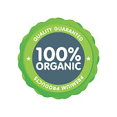 Modern green eco badge. 100 percent organic label. Sticker vector illustration