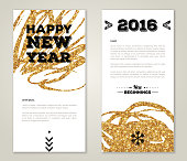 Modern Greeting Card Design with Golden Paint Stains