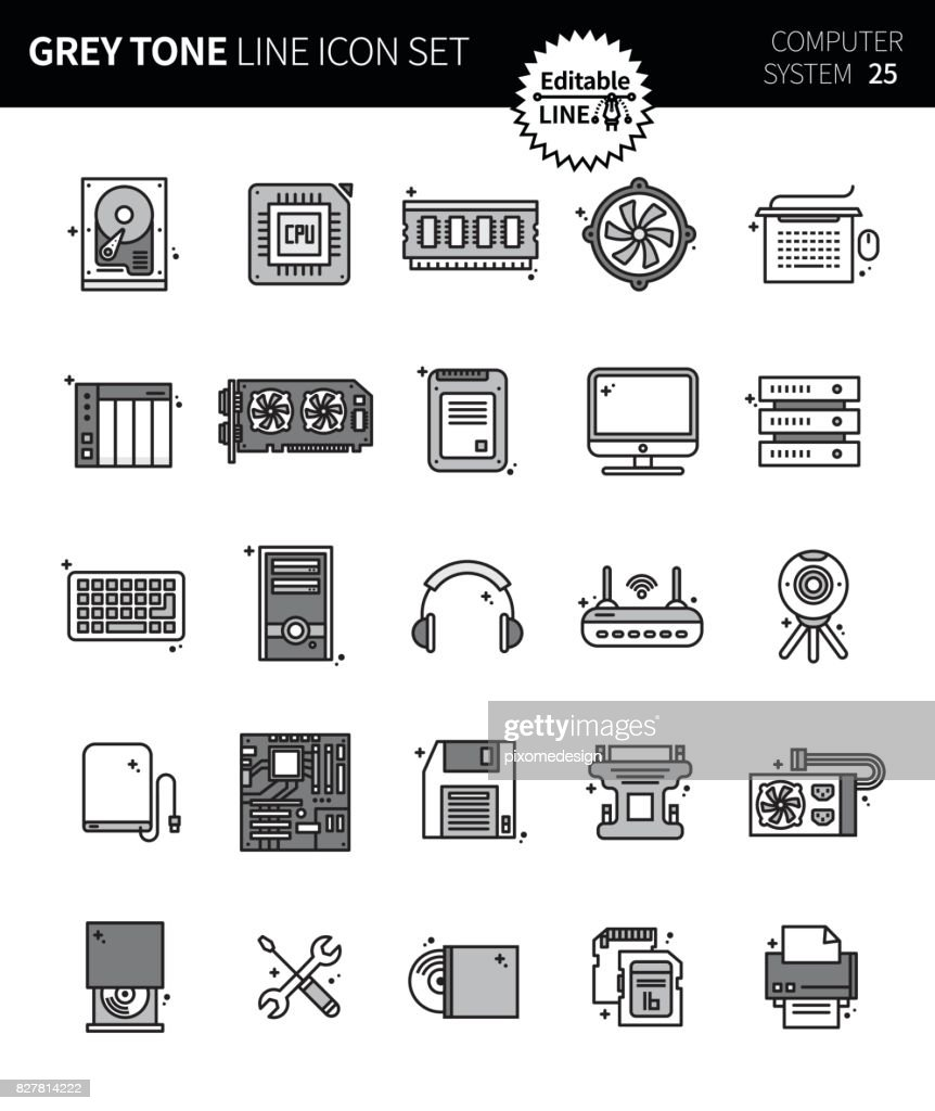 Modern grey tone thin line icons set of computer system. Premium quality outline symbol set. Simple linear pictogram pack. Editable line series