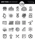 Modern grey tone thin line icons set of education & school. Premium quality outline symbol set. Simple linear pictogram pack. Editable line series