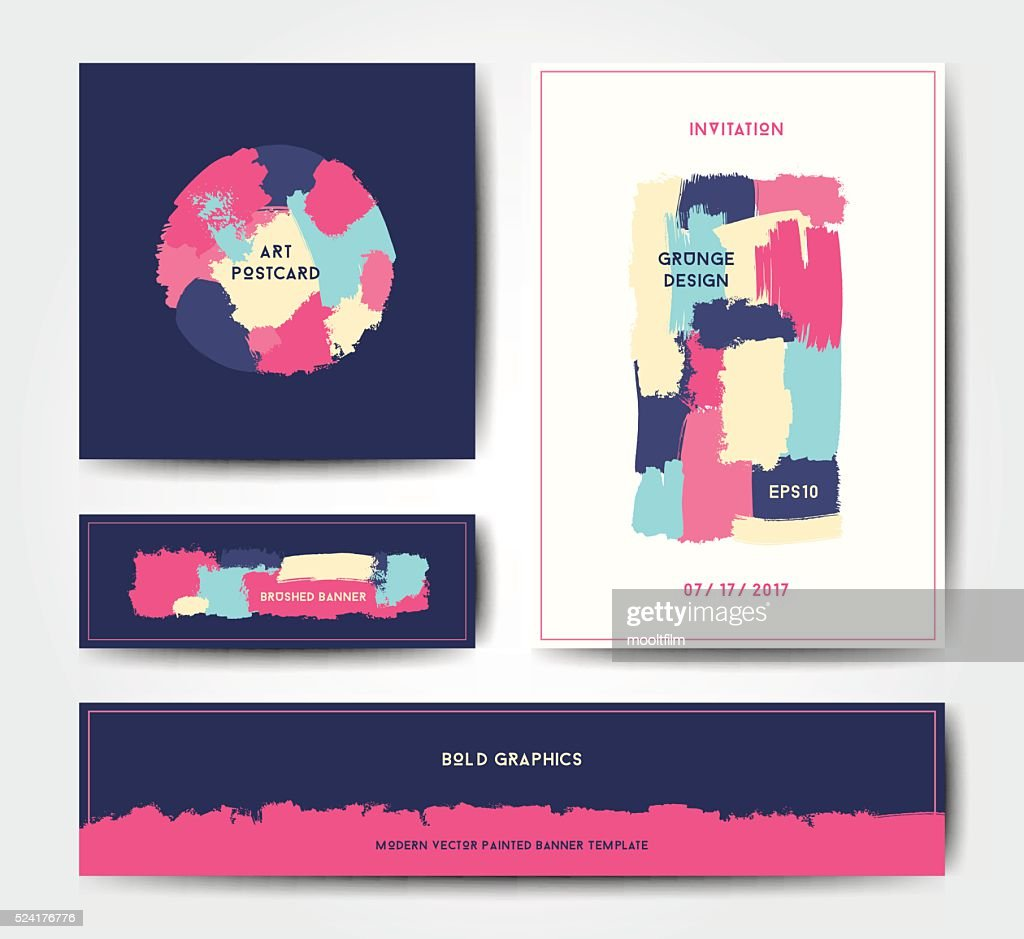 Modern grunge brush postcard template