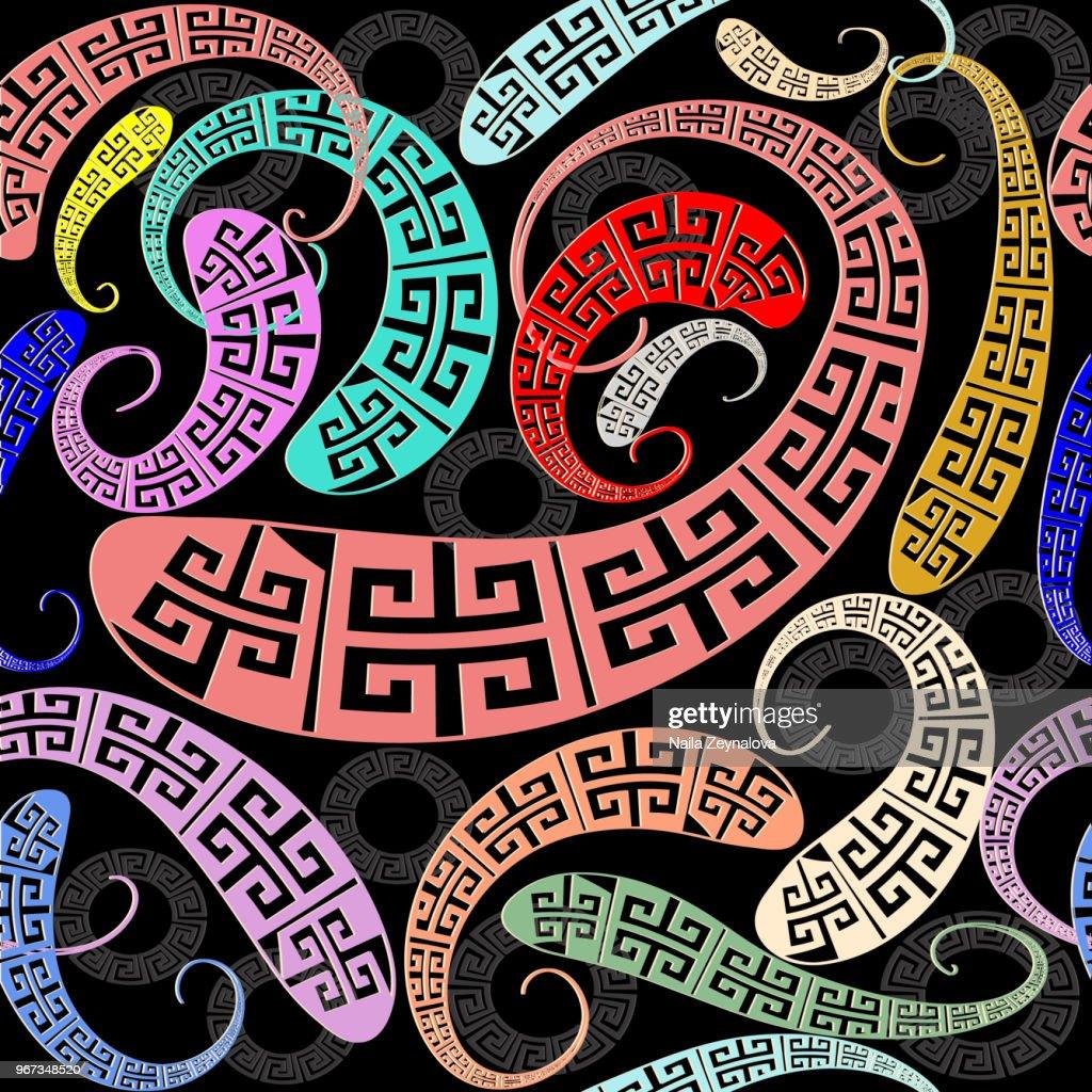 Modern hand drawn greek paisley seamless pattern.