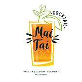 Modern hand drawn lettering label for alcohol cocktail Mai Tai