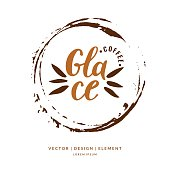 Modern hand drawn lettering label for coffee drink Glace
