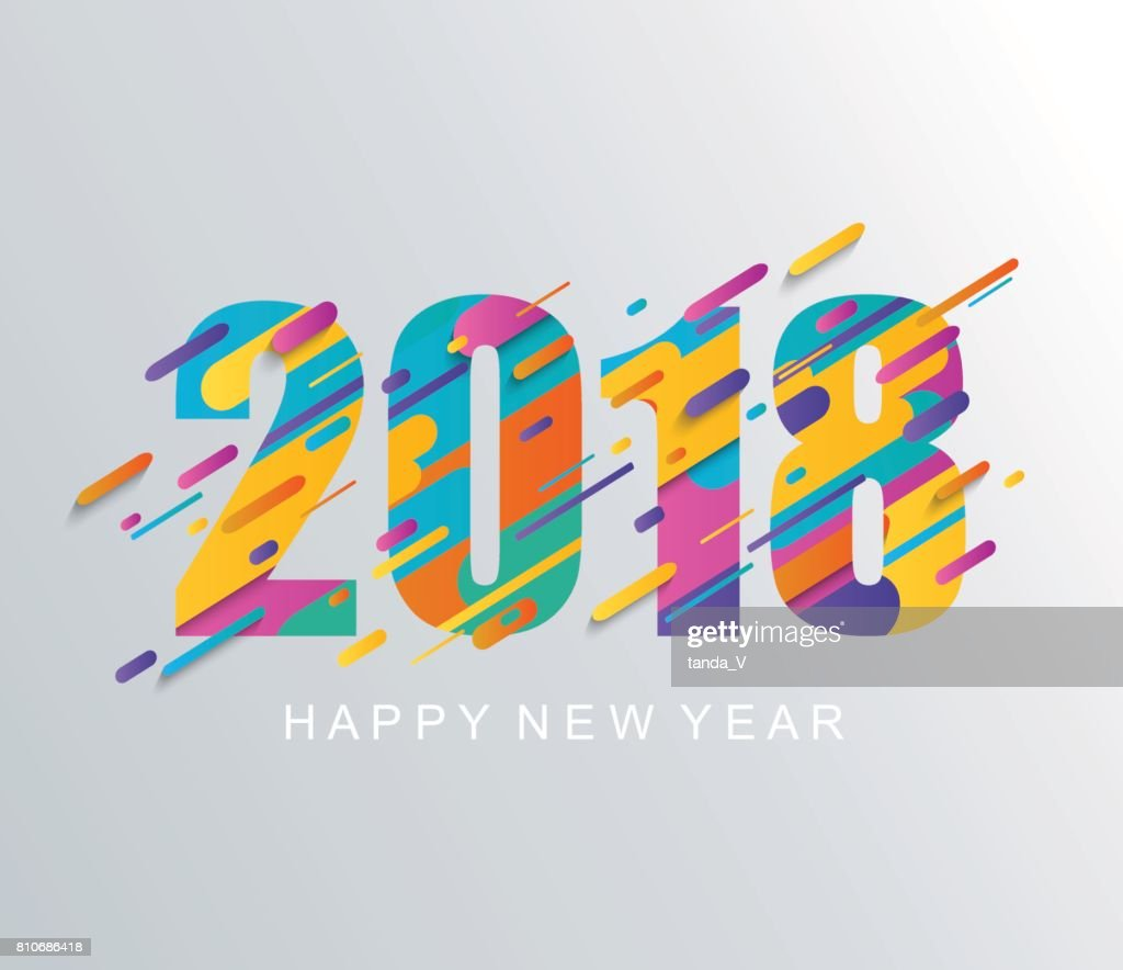 Modern Happy New Year 2018 design card.