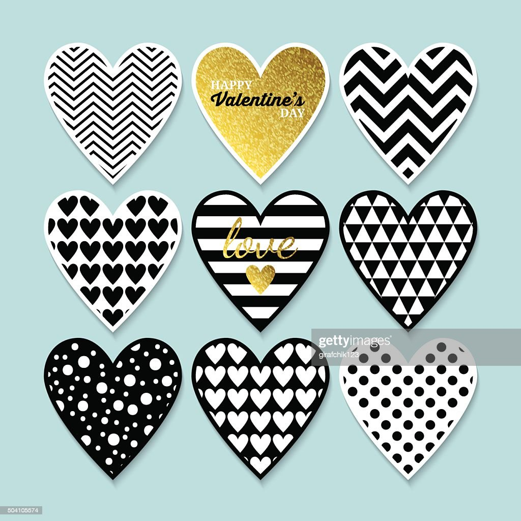 Modern heart shapes in black, gold and white for Valentine's