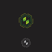 Modern hexagon vector concept design with leaf on the middle
