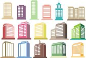 Modern High Rise Buildings Vector Icon Set