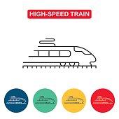 Modern high speed train line icon