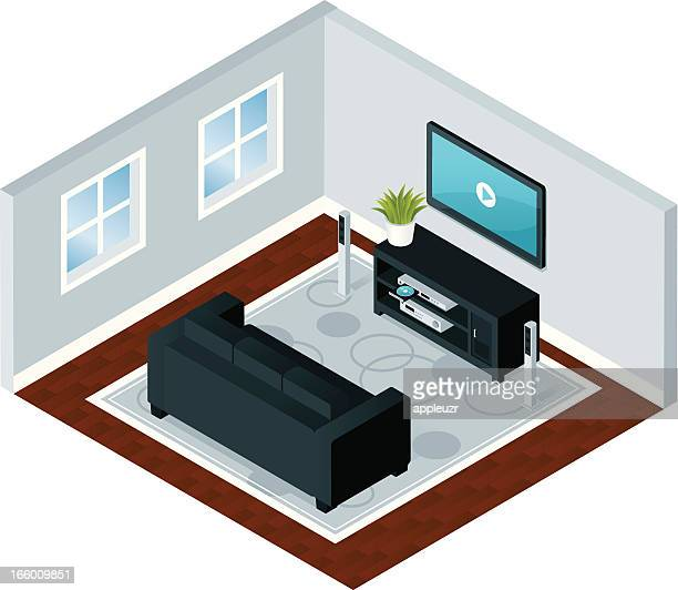 modern home entertainment - dvd stock illustrations