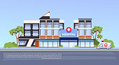 Modern Hospital Building Exterior Medical Clinic Concept