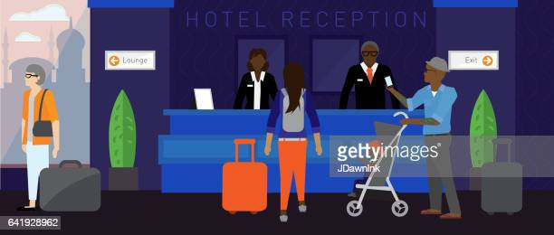modern hotel scene - checkout stock illustrations, clip art, cartoons, & icons