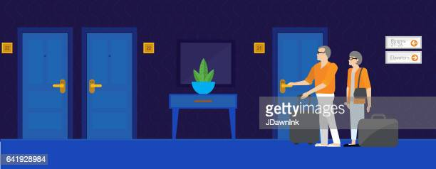 modern hotel scene - corridor stock illustrations, clip art, cartoons, & icons