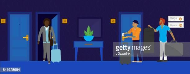モダンなホテルのシーン - ゲイ点のイラスト素材/クリップアート素材/マンガ素材/アイコン素材