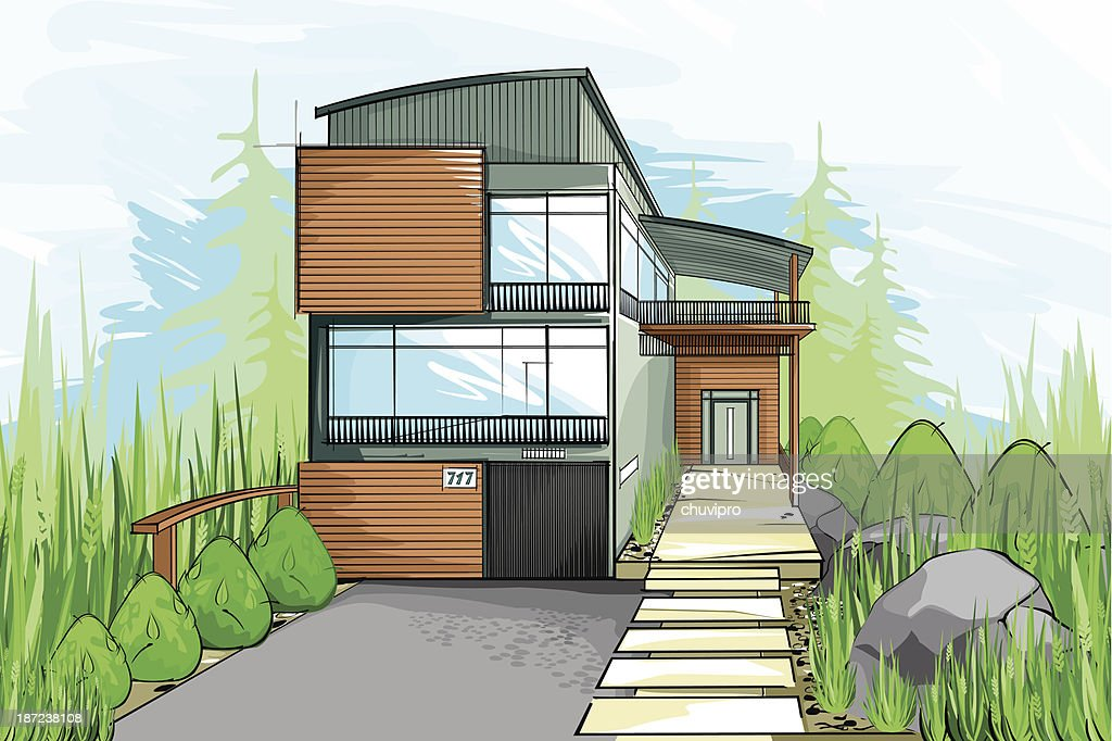 Modern House Sketch Vector Art | Getty Images