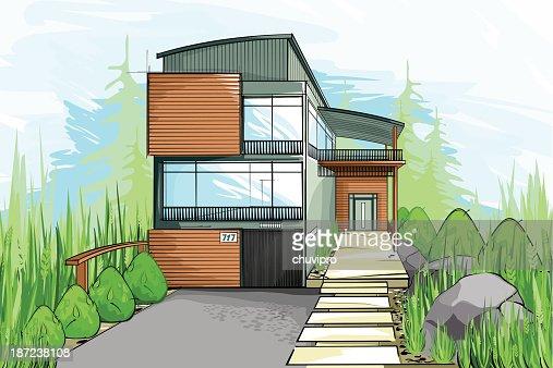 Modern Houses Vector Art